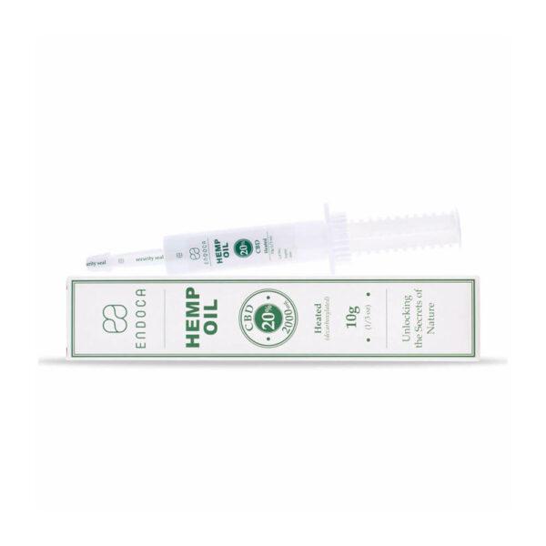 Endoca Hemp Oil Extract 2000mg CBD Cannabidiol 20% - 10grams heated laying view of packaging.