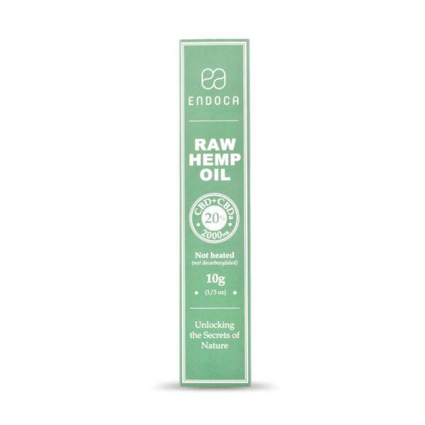 Endoca RAW Hemp Oil Extract Paste 2000mg CBD+CBDa 20% box front view. Find it online at CBD oil Shop.