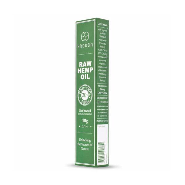 Endoca RAW Hemp Oil Extract Paste 2000mg CBD+CBDa 20% box side view. Best price online.
