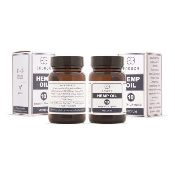 Endoca CBD Capsules (Medium) 300mg packaging. Bottle and box of Full spectrum tasteless Hempoil.