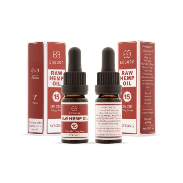 Endoca RAW CBD Oil (Strong) Drops 1500mg CBD+CBDa (15%) - 10ml box and bottle back and front packaging perspective. CBD Shop.