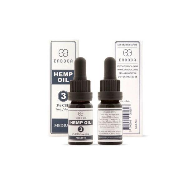 Endoca Σταγόνες Ελαίου Κανναβιδιόλης CBD (MEDIUM) 300mg (3%) - 10ml πίσω και μπροστά όψη μπουκάλι και ετικετα. CBD έλαιο Ελλάδα.
